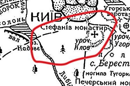 Клов на карте старого Киева